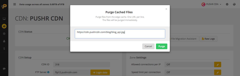 PUSHR CDN cache purging