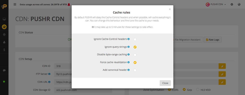 PUSHR CDN cache rules